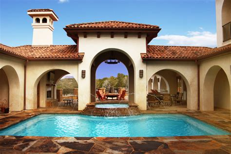 mediterranean house plans with pool courtyard pool mediterranean pool austin by