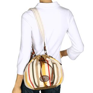 Fossil Drawstring Shoulder Bags 2in1 Canvas bling bling closet fossil maddox fabric drawstring bag