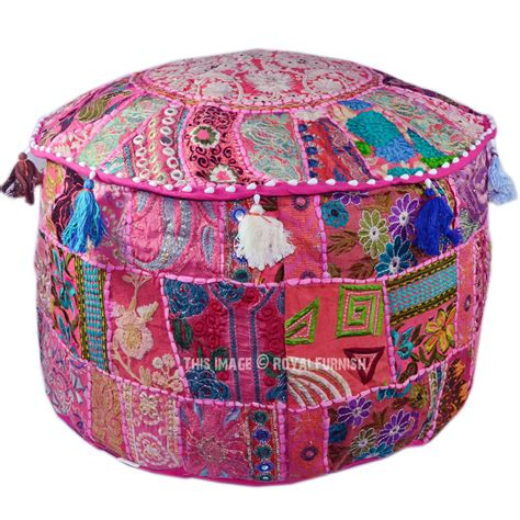 Patchwork Pouffe Footstool - pink large bohemian patchwork floor seating indian