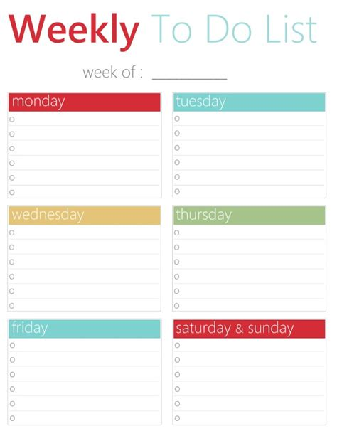 printable weekly planner with to do list free printable weekly to do list
