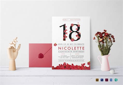 layout invitation for debut floral debut invitation design template in psd word