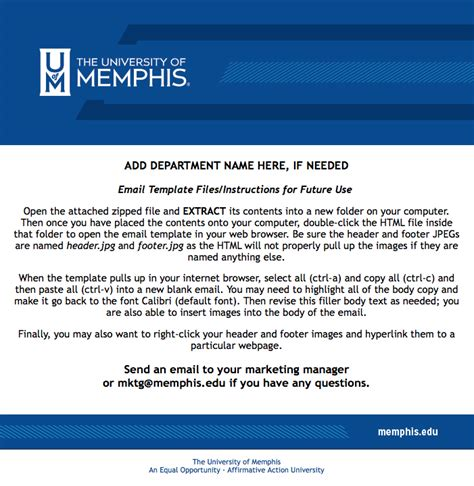 Email Templates Marketing And Communication The University Of Memphis Communication Email Templates
