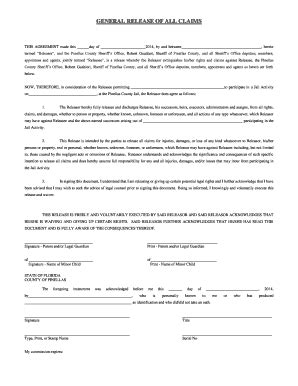 General Release Agreement Forms And Templates Fillable Printable Sles For Pdf Word Release Of Claims Template