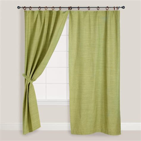 the green curtain green jaya canvas curtains set of 2 world market