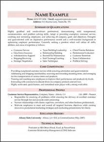Resume Summary Exles For Customer Service Sle Resume Summary Statement For Customer Service
