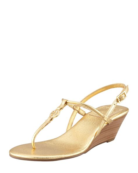 golden sandals burch emmy demi wedge sandal gold in gold lyst