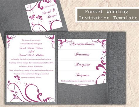 aubergine pocketfold wedding invitations pocket wedding invitation template set diy editable word