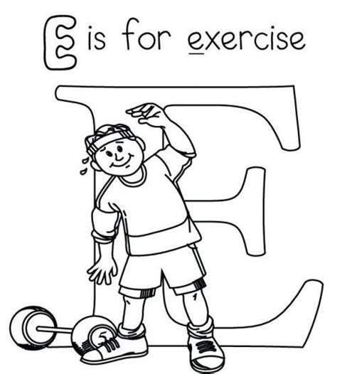 Preschool Exercise Coloring Pages | letter e is for exercise coloring page src 2014