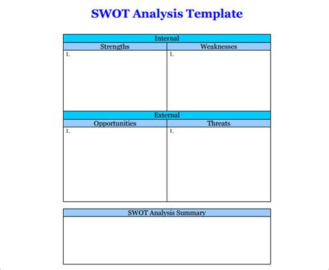 swot template xls 16 swot analysis template free word pdf excel doc formats