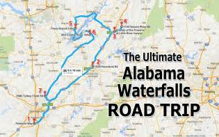 road map of alabama usa the ultimate alabama waterfalls road trip is right here