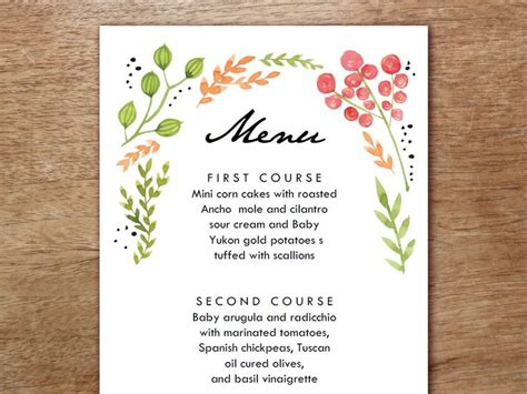 45 best images about printable wedding menu templates on