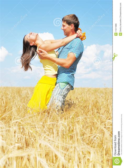 Cauple Senny on wheat field royalty free stock image image 11511886