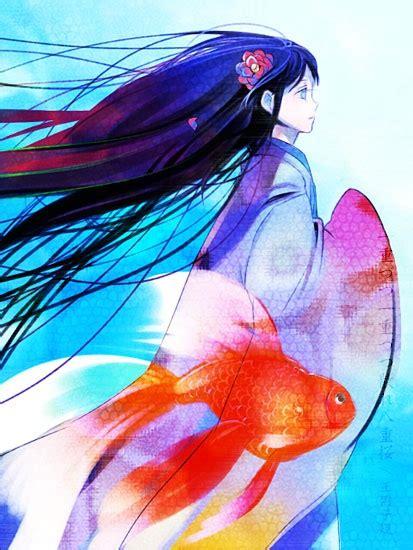 anime fish girl anime girl in kimono with goldfish manga and anime art