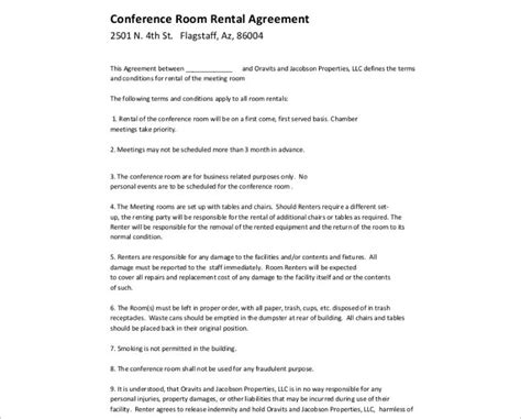 room rental agreement template free word form