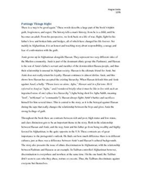 sacrifice theme in the kite runner kite runner sacrifice essay