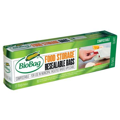 biobag resealable food storage compostable zipper bags