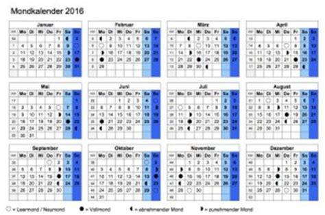 Kalender Mit Mondphasen 2015 3711 by Mondkalender 2016 Muster Vorlage Ch