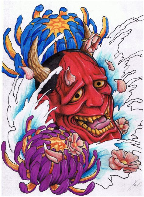 mister tattoos japanese hannya mask tattoo designs