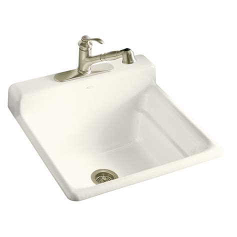Kitchen Faucet Kohler by Shop Kohler Biscuit Cast Iron Laundry Sink At Lowes Com