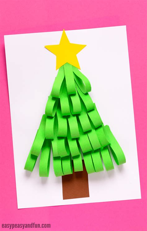 christmas trees made out of consttruction paper paper strips tree easy peasy and
