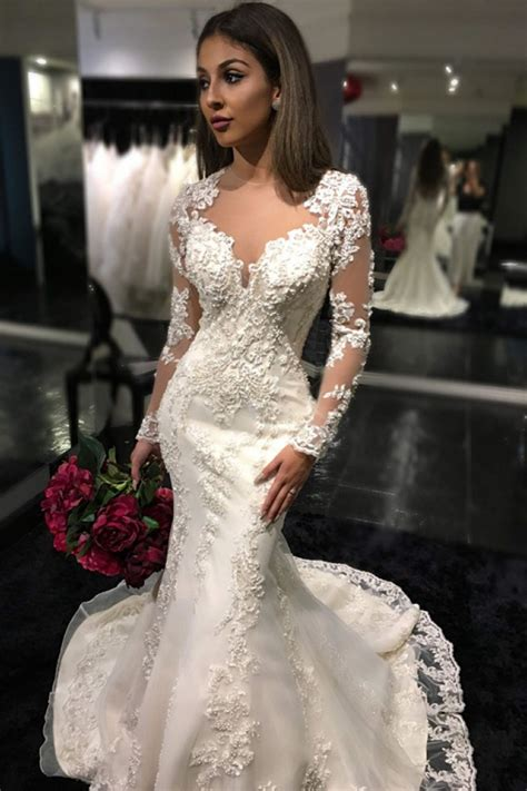 charming long sleeves mermaid bridal dresses  tulle