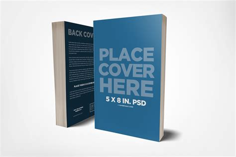 book cover mockup template 5 x 8 front back cover book mockup covervault