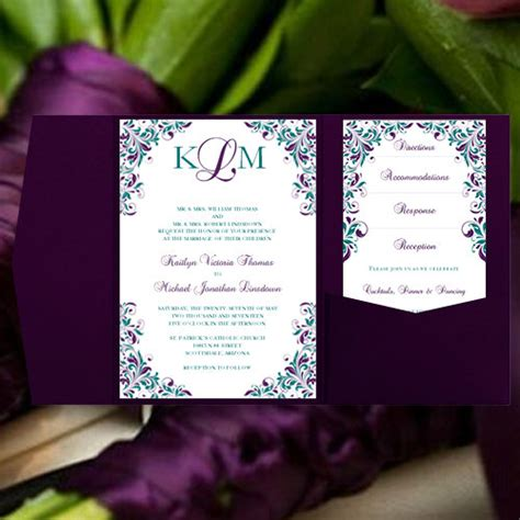 Rack Cards Purple And Teal Template by Purple And Teal Wedding Invitations Www Pixshark