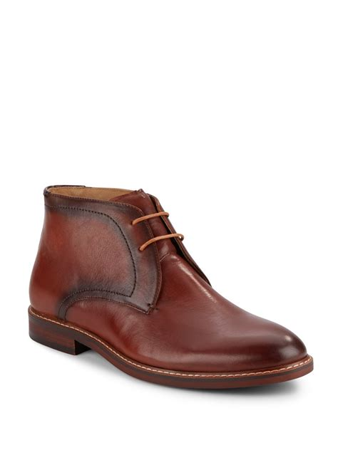steve madden beckon leather chukka boots in brown for