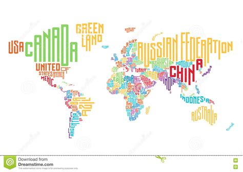 illustration of world map with country name world map made of typographic country names stock vector