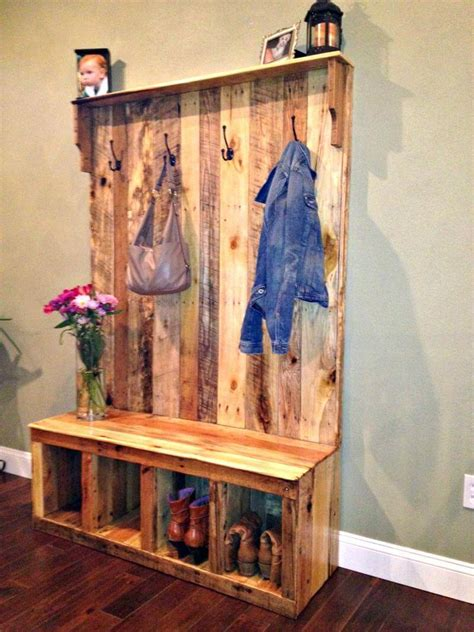 diy   pallet hall tree  pallet wood entryway bench