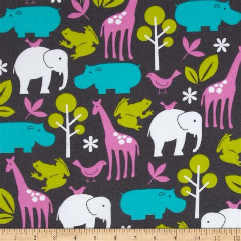 net zoology pattern michael miller flannel zoology orchid discount designer