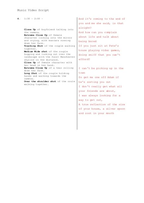 music video script template a2 media adv portfolio