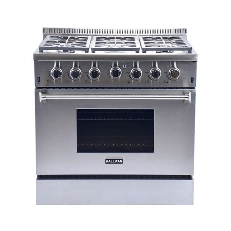 Oven Gas 2 Pintu hallman 36 in 5 2 cu ft 6 burner professional convection gas range in stainless steel liquid