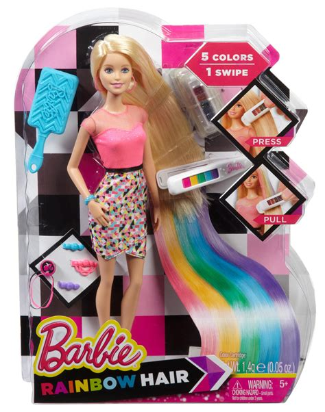 doll hairstyles games amazon com barbie rainbow hair doll toys games