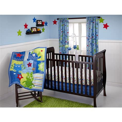 crib bedding walmart little bedding by nojo monster babies 3 piece crib bedding