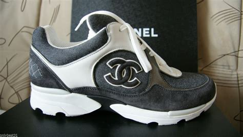 chanel mens trainer sneakers nib chanel cruise grey canvas suede white cc trainer