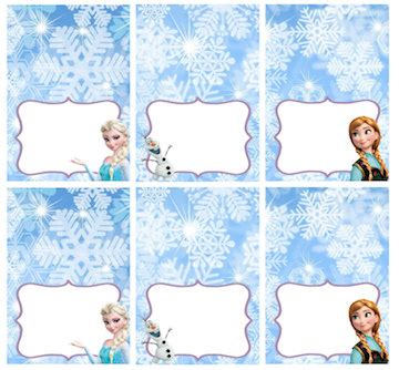 printable frozen table cards disney frozen food labels placecards tent cards favor tags