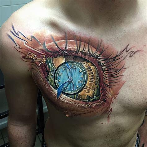 tattoo eye with clock eye clock chest tattoo best tattoo ideas designs