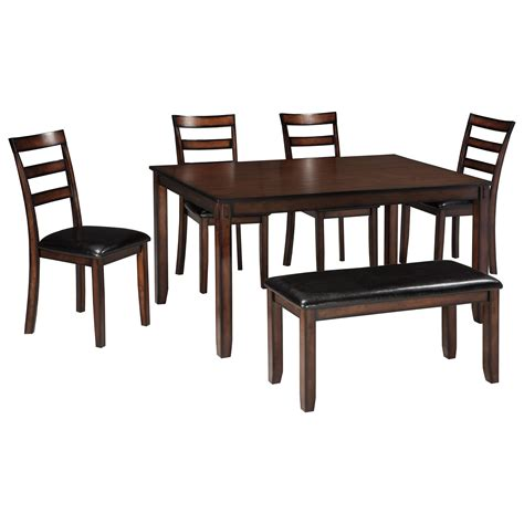 Bench Dining Room Table Set Signature Design By Coviar D385 325 Burnished Brown 6 Dining Table Set With Bench