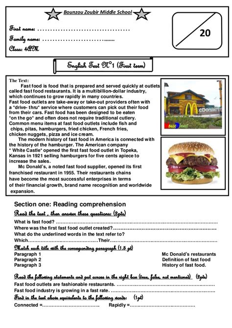 reading comprehension test about food exam 4ms
