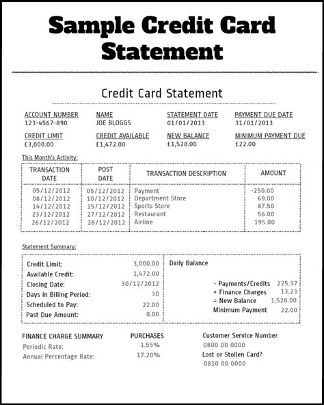 Credit Card Statement Template statement credit best template collection