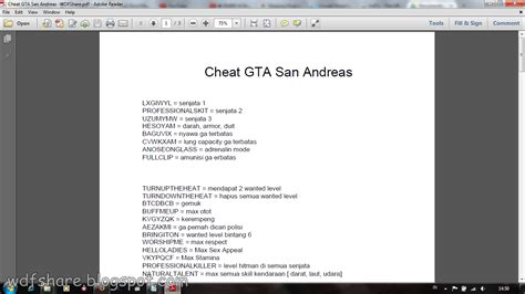 Grand Theft Auto San Andreas Cheats by Grand Theft Auto San Andreas For Pc Wfdshare