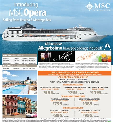 all inclusive wedding packages ontario introducing msc opera from 595 all inclusive beverage package included