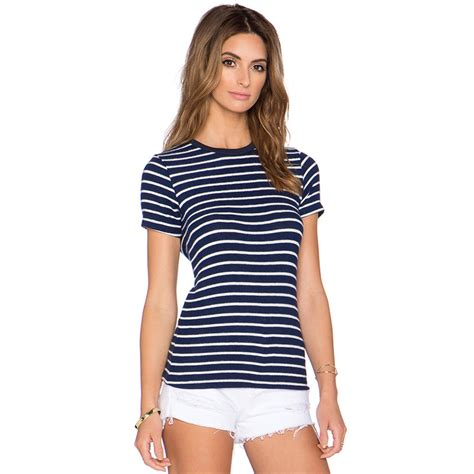 Blue Stripped Brand Cikicoko aliexpress buy 2016 brand blue and white striped t shirt neck sleeve