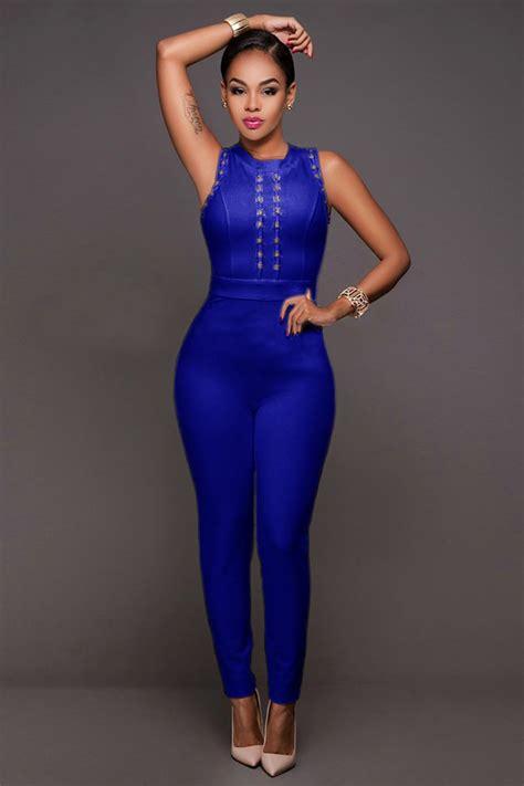 Jumpsuit Blue stunning blue bandage jumpsuit charming wear