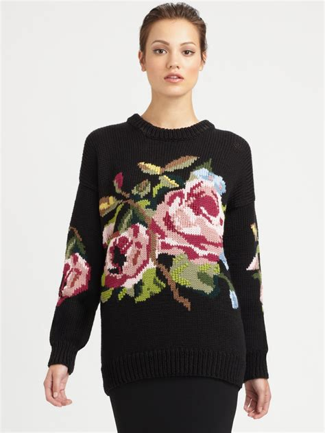Flower Black Sweater 1 dolce gabbana wool floral print sweater in black lyst