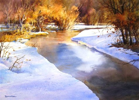 watercolor river tutorial how to paint a snow scene in watercolor roland lee