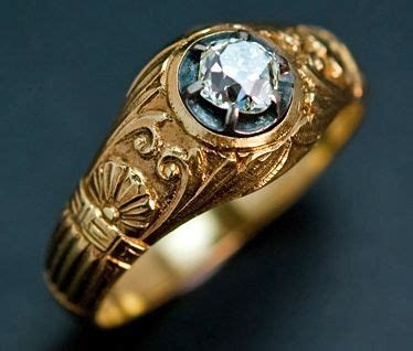 vintage russian solitaire diamond men s gold ring from
