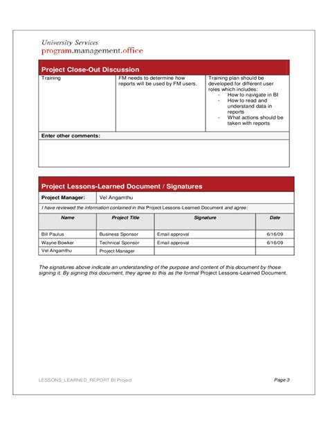 sle project report template project lessons learned report free