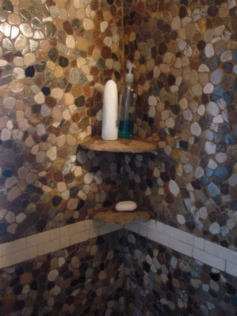 riverstone tile bathroom real stone shoo shelves in a riverstone shower new